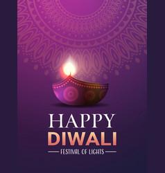 Happy diwali traditional indian lights hindu vector