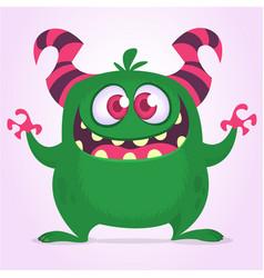 Happy excited cartoon monster vector