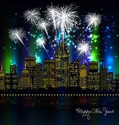 Happy new year with firework city at night vector