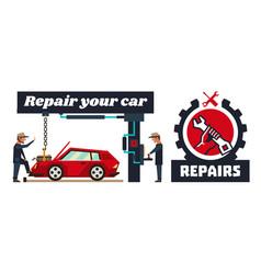 horizontal banner template on car repairs logo vector image