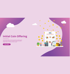 ico initial coin offering concept with people vector image