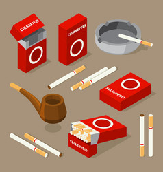 isometric cigarettes and vector image