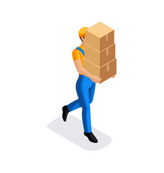 Isometric man in uniform has many cardboard boxes vector