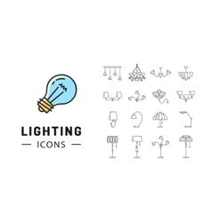 Lamp icon set Lighting store flat design Brand vector image