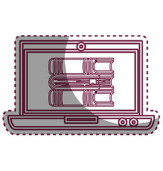 Laptop computer with ebook isolated icon vector