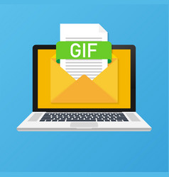 Laptop with envelope and gif file notebook and vector