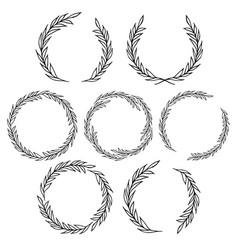 laurel wreath bundle decorative floral leaf frame vector image