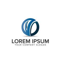 letter v modern circular logo design concept vector image