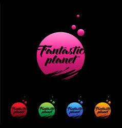 logo planet fantastic colored planets vector image