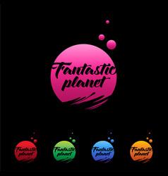 Logo planet fantastic colored planets vector
