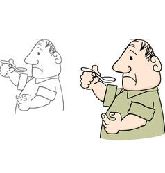 Man with spoon vector