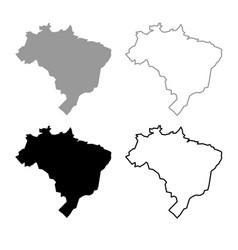 map of brazil icon outline set grey black color vector image