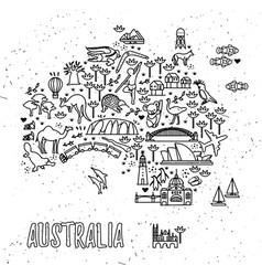 map of the australia and travel icons australia vector image