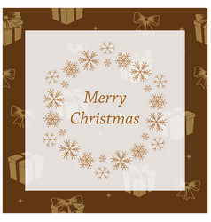 merry christmas - brown greeting card vector image