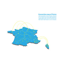 Modern of france map connections network design vector