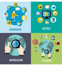 Navigation search and business flat concepts vector image