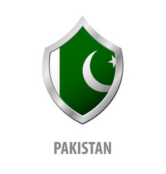 pakistan flag on metal shiny shield vector image