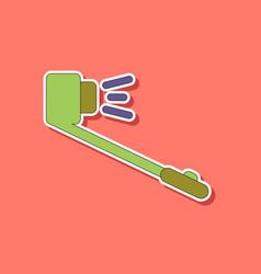 Paper sticker on background of selfie stick vector