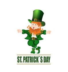 patrick day cheerful leprechaun green hat vector image vector image