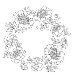 Peony flower wreath vector