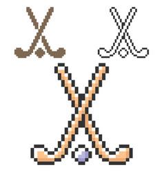 pixel icon field hockey in three variants vector image