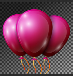 Realistic pink-red balloons with ribbons isolated vector