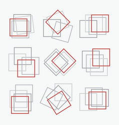 Red and gray square shape frames set emblems vector