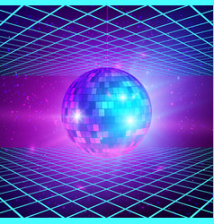 retro background with laser rays and mirror ball vector image
