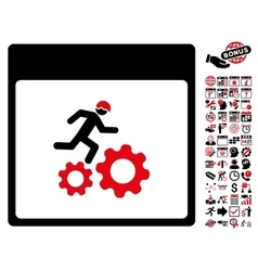 Running Worker Calendar Page Flat Icon With vector
