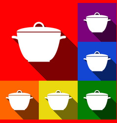 saucepan simple sign set of icons with vector image