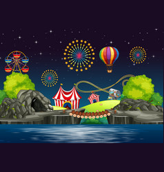 scene background design with circus at night vector image
