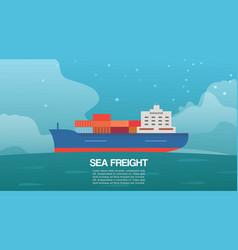 Sea freight cargo container sailing ship cartoon vector
