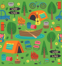Seamless pattern with summer camping in forest vector