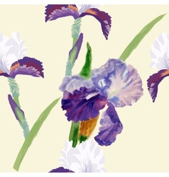 Seamless pattern with watercolor irises-03 vector image