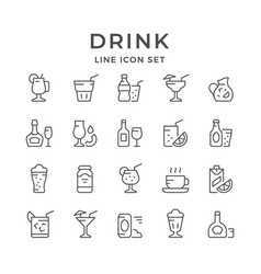set line icons of drink vector image