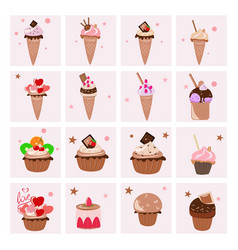 set of delicious desserts vector image
