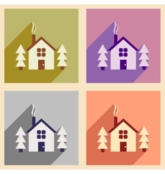 Set of flat web icons with long shadow house in vector