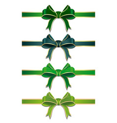 set of green ribbons with bows vector image vector image