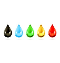 Set of multicolored droplets icons vector image