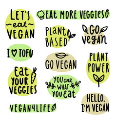 set of vegan lettering vector image