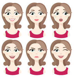 set of woman avatar expressions face emotions vector image vector image