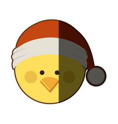 Silhouette of chicken head with christmas hat and vector