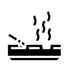 Smoking smell glyph icon sign vector