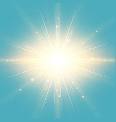 sun in blue sky vintage background vector image
