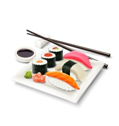 Sushi Realistic Set vector image