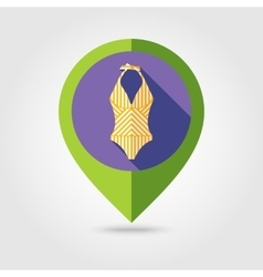 Swimsuit flat mapping pin icon with long shadow vector image