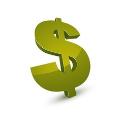 Three-dimensional dollar symbol financial and vector image vector image