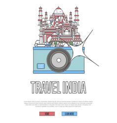 Travel india poster with camera vector