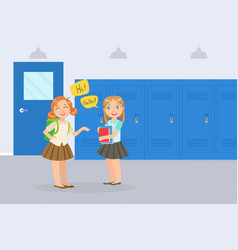 two girls elementary school students talking in vector image
