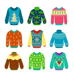 Ugly christmas sweater knitted jumpers with vector
